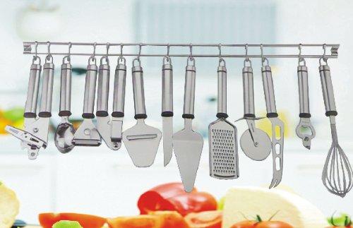 Küchenhelfer Set 13-teilig, im Edelstahl Design, inkl. Küchenleiste mit 12 Haken
