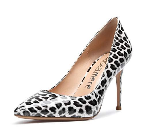 CASTAMERE Zapatos de Tacón Mujer Tacón de Aguja 8.5CM Tacón Charol Leopardo Zapatos EU 42