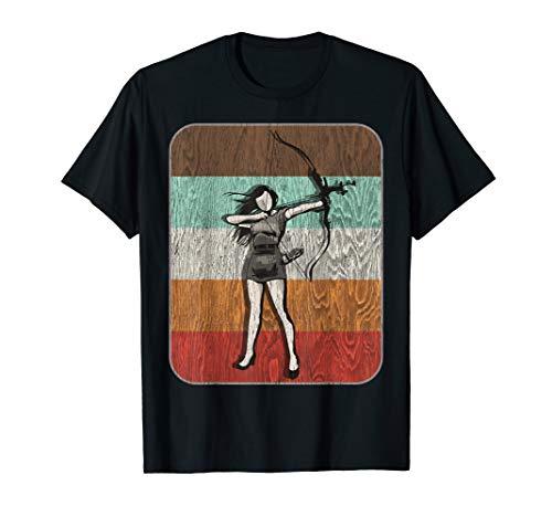 Schießen Mädchen (Bogenschießen-Mädchen-Schießen-Bogen-Retro Vintages Geschenk T-Shirt)