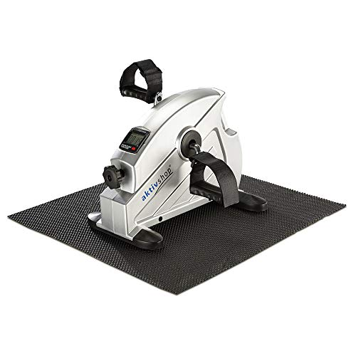 aktivshop Mini Heimtrainer Bewegungstrainer Pedaltrainer Armtrainer Beintrainer Mini-Bike Trainingsgerät silber inkl. Anti-Rutschmatte Trainingscomputer
