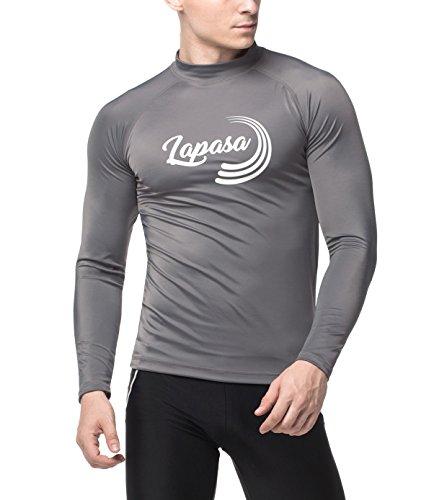 LAPASA Herren UV Sonnenschutz Basic Skins Langarm Rash Guard Crew Shirt M43 (XXL, Dunkelgrau)