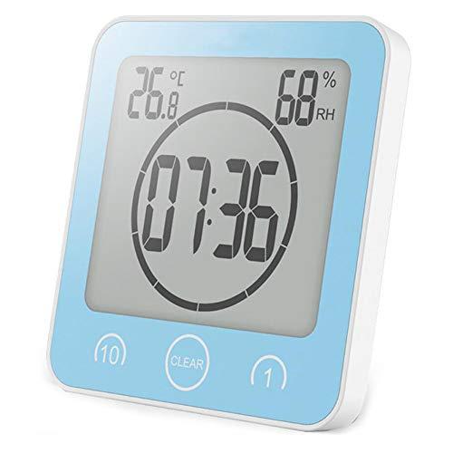 BSDZ Badezimmeruhr Digital Wecker Uhr Badezimmer Dusche Saugnapf Shower Clock mit LCD Display Luftfeuchtigkeit Temperatur Wanduhren,Countdown Timer Für Dusche Küche