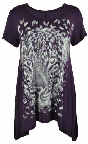 Purple Hanger - Haut T-Shirt Femme Manche Courte Ourlet Inégal Imprimé Tête De Tigre Extensible Grande Taille Violet