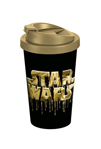 Star Wars Logo Gold 400ml Coffee to go Becher, Kunststoff, Schwarz, 9 x 9 x 16,5 cm