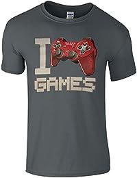 I Love Games Children's T-shirt Teenage Top Kids Space Invaders Retro Novelty Kidswear (9-11 Years, Grey)