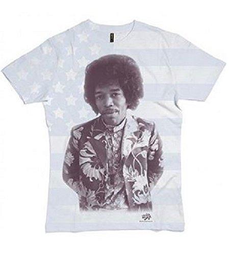 T-Shirt (Unisex-L) All Over Flag Print (White) [Import anglais]