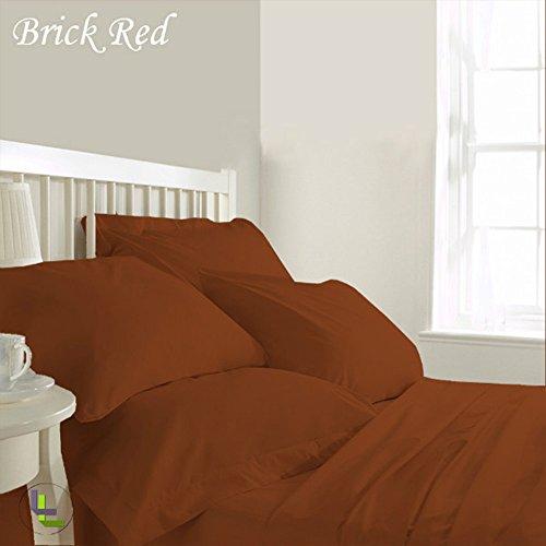 RoyalLinens 600tc 100% ägyptische Baumwolle elegant Finish 6Wasserbett Bettlaken-Set massiv (Pocket Größe: 66cm), Baumwolle, Brick Red Solid, EU_King Fitted Wiggle Dress