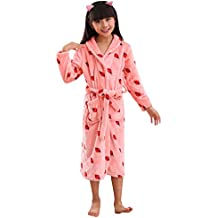 YFCH Albornoz de Franela Largo para Niños Niñas Bata de Ducha Pijama de Invierno Infantil