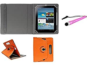 Gadget Decor (TM) PU LEATHER Rotating 360° Flip Case Cover With Stand For Tescom Turbo + Stylus Capacitive Pen -Orange