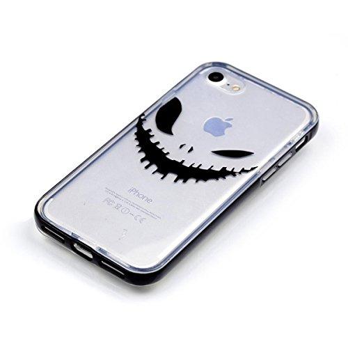 """MOONCASE iPhone 7 Coque, IMD Gel Souple TPU Case Fleur Motif Cover pour iPhone 7 4.7"""" Transparente Housse Antidérapant en Silicone Avec Absorption de Chocs [Butterflies Pattern] Grimace"""