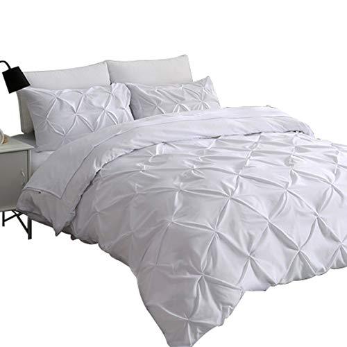 Pinch Falte mit Bettbezug Set-3Stück Deko Stilvolles gebürstet Mikrofaser Bettwäsche Set mit Reißverschluss und Ecke Kabelbinder, weiß, King Size ()