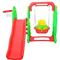 Homcom Kids Garden Playground 3in1 with Swing, Slide and Basketball Hoop Multifunctional Play Set