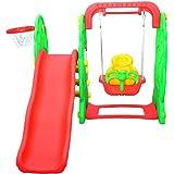 Homcom Kids Garden Playground 3in1 with Swing, Slide and Basketball Hoop Multifunctional Play Set