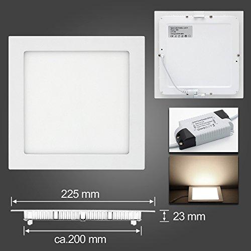 LED Panel Leuchte, Dimmbar 18W 1480lm 225x225mm Warmweiß Einbaustrahler Deckenleuchte 3-Jahre Garantie Quadrat 3000K, ersetzt 60W Leuchtstoffröhre, Lochgröße:200~210mm (Bad Seite Leuchte)
