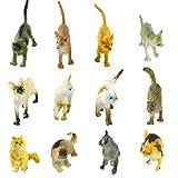 Larcele 12 Tipi Mini Modello Animale in Plastica Simulato Gatto Figure Giocattolo per Bambini FZM-01 (Gatto)