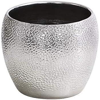 Lifestyle /& More /Übertopf Pflanzengef/ä/ß Vase f/ür Blumen aus Keramik in der Farbe wei/ß und Silber H/öhe 15 cm