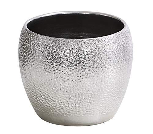 Dehner Übertopf Rosella, Ø 24 cm, Höhe 21 cm, Keramik, silber