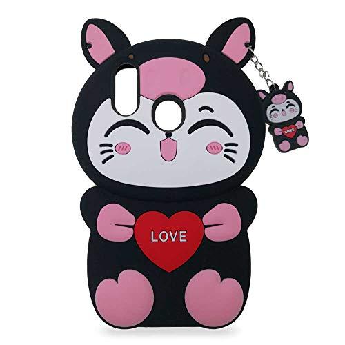 Honor 10 Lite Hülle, Süße Lustige 3D Katze Weiches Silikon Tiere Muster Anti-Kratz Stoßfest Gummi Schutzhülle Case Schale Cover Handyhülle für Mädchen Kinder Damen (Schwarze) ()