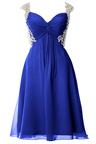 MACloth Women Lace Straps Chiffon Short Prom Dress Formal Party Evening Gown Royal Blue