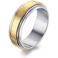 Vnox Acciaio inossidabile Om Mani Padme Hum filigrana Spinner Ring per sette millimetri buddista per Uomini Donne
