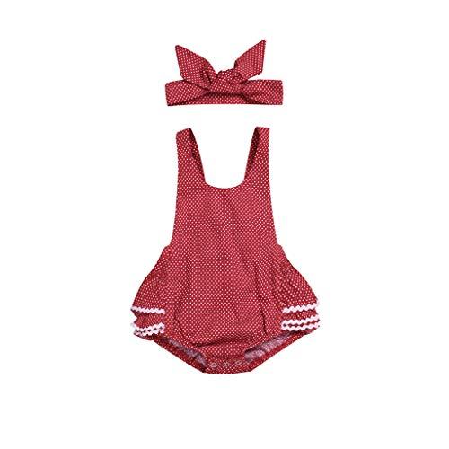 Body de Lunares para bebé niña con Diadema, Bodys sin Mangas de Encaje Verano Ropa Conjuntos Ropa Bautizo Bebes niñas Bodies Vestido Mono Rojo 18-24 Meses