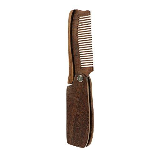 MagiDeal Bartkamm klappbar / Taschenkamm natürliche Bartpflege aus Sandelholz / Antistatischer Holzkamm