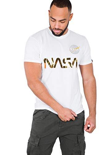 Alpha Industries Hombre Camiseta Reflectante de la NASA, Blanco, XX-Large