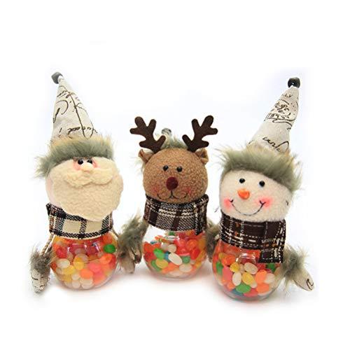 Healifty Weihnachten Geschenkbox Bonbongläser mit Plüsch Weihnachtmann Schneemann Rentier Puppe Deckel Süßigkeit Box Weihnachtsdeko 3 Stück