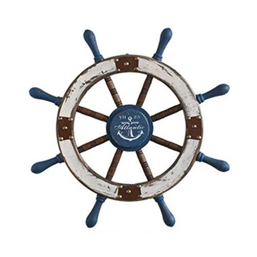Stickers muraux Autocollants muraux style européen méditerranéen barreur en bois gouvernail créatif volant décorations murales cadeaux (Color : Blue, Size : 54 * 54cm)