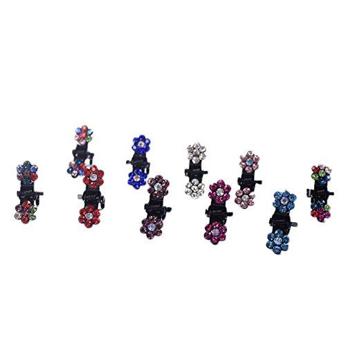 12x Milopon Mini Pinces à Cheveux avec Strass Barrettes Griffes à Cheveux Pour Femme Enfant Fille Coiffure Couleur Aléatoire