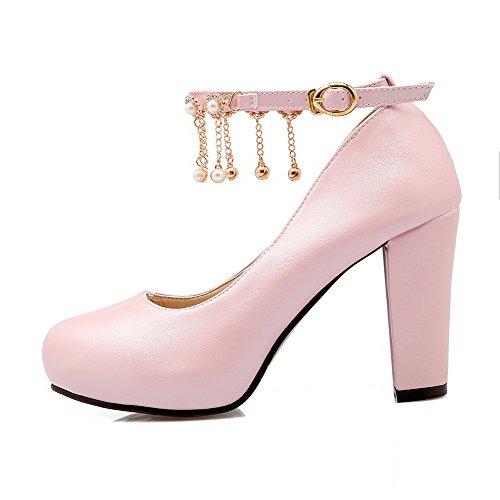 VogueZone009 Femme Boucle Rond à Talon Haut Couleur Unie Chaussures Légeres Rose