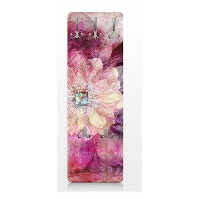 Apalis 67515 Wandgarderobe Grunge Flower   Design Garderobe Garderobenpaneel Kleiderhaken Flurgarderobe Hakenleiste Holz Standgarderobe Hängegarderobe   139x46cm