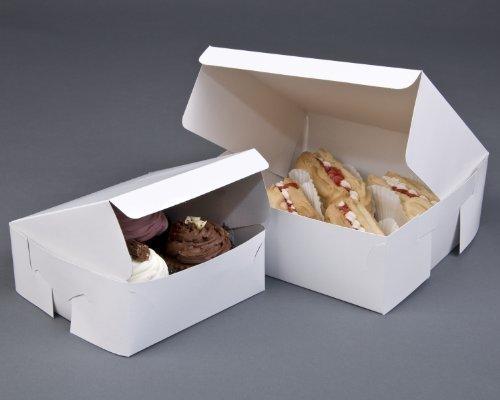 10 Fold Flat White Cake Boxes 7 x 7 x 3 Wedding / Birthday / Cupcake Box by Bag It Plastics (White Box Cake)
