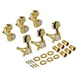 Kmise Electric Guitar Tuning Pegs Tuners Keys Machine Heads for Acoustic Parts 3L3R Gold Closed Gear