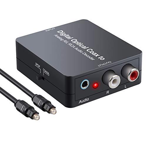 ESYNiC DAC Convertitore Decoder con Switcher SPDIF/Coassiale Adattatore Audio Ottico Digitale Coassiale ad Analogico L/R Jack 3.5mm Supporta Dolby Digital 5.1 DTS per PS3 XBox HDTV BluRay DVD SkyHD