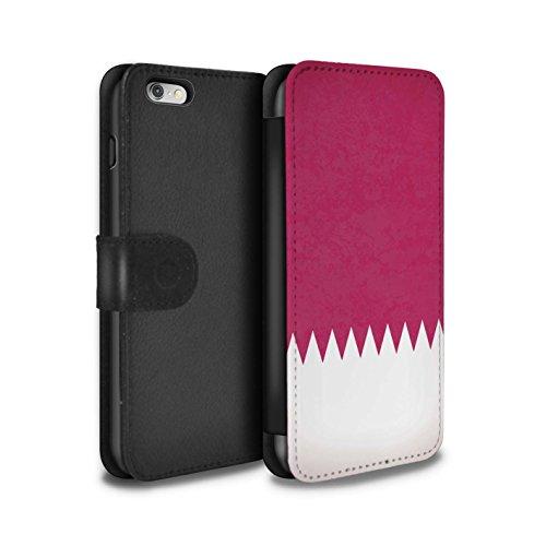 STUFF4 PU-Leder Hülle/Case/Tasche/Cover für Apple iPhone 8 / Georgien/Georgisch Muster / Asien Flagge Kollektion Katar/Qatari