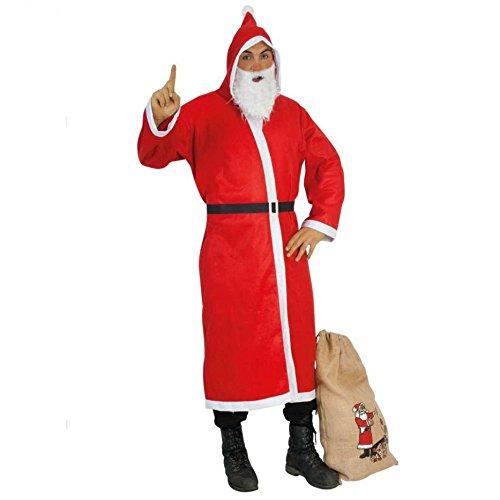 Weihnachtsmann - Set mit einem roten Mantel, Bart, Gürtel + Sack -