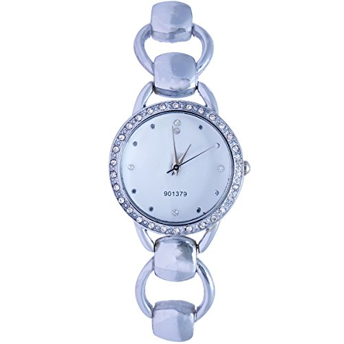 Super Drool ST2437_WT_SILVER Shiny Analog Watch For Girls