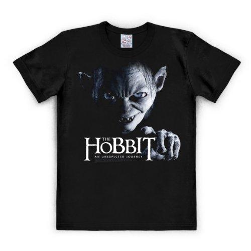 T-Shirt The Hobbit - Gollum - An Unexpected Journey - Sméagol - Rundhals Shirt von LOGOSHIRT - schwarz - Lizenziertes Originaldesign, Größe (Smeagol Kostüme)