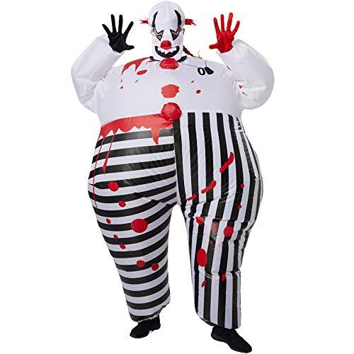 dressforfun 302357 - Aufblasbares Unisex Kostüm Horror-Clown, Anzug mit Blutflecken, inkl. Handschuhen und - Kostüme Horrorclown