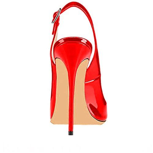 Trusify Donna 12cm EU 34-46 Trucost tacco a spillo 12CM Synthetic Sandali Rosso