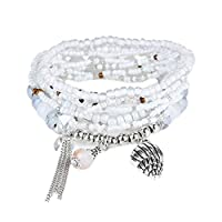 RareLove Bohemian White Beaded Bracelet Stretch Wrap Bangle With Charms Seashell Dangle Layered