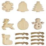 baotongle 70 Stücke Weihnachtsanhänger Tannenschmuck, DIY holzscheiben Weihnachts Holz-Anhänger,Holz Elch, Schneeflocke,...
