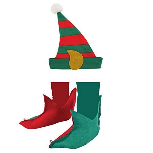 Elfenschuhe + Elfenmütze Hut für Elfen Zwerge Gnom Märchen Narr Stulpen