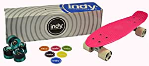 Indy Skateboards Retro Cruiser 70s Style Skateboard + SET OF EXTRA WHEELS- 4 Colours (Vintage 70s Penny Globe Bantam Style) (Perfect Pink)