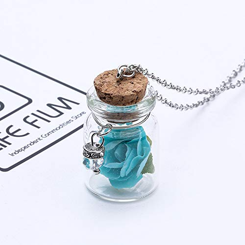 Gaddrt Glow in the Dark Glass Glass Tiny Wishing Bottle Fiala Collana pendente a catena-Regali meravigliosi-Lunghezza catena: 60 + 5cm (Blue)