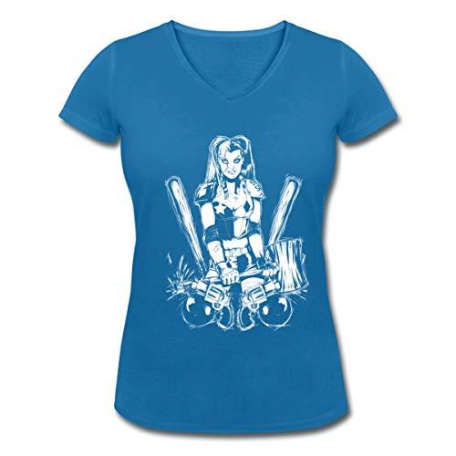 Spreadshirt DC Comics Batman Harley Quinn Frauen Bio-T-Shirt mit V-Ausschnitt von Stanley & Stella, L, Pfauenblau