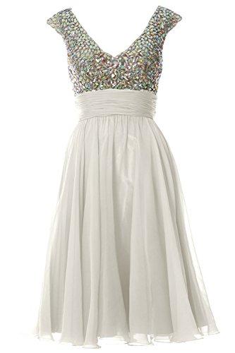 MACLoth Women Cap Sleeve V Neck Crystal Chiffon Short Prom Dress Evening Gown Elfenbein