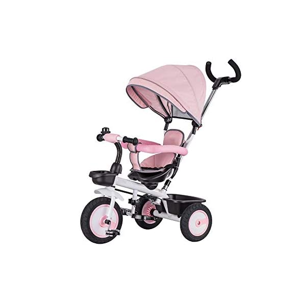 LRHD Children's Tricycle 4-in-1 Baby Tricycle, Safety Belt, Adjustable Push Handle, Detachable Ceiling, Retractable Pedal, Lockable Pedal, Detachable Guardrail, Birthday Present for Children LRHD 1. 4-in-1 tricycle: easy to switch between the four modes and easy to disassemble and install all components. This tricycle can grow up with a child aged 10 months to 5 years old, which is a rewarding investment for your child's childhood. Our four-in-one tricycle will be one of your children's fond memories of childhood. 2. Convenient for parents: when children cannot ride independently, parents can easily use the push handle to control the steering and speed of the tricycle. The height of the push handle can be adjusted to meet the different needs of parents. The push handle is also detachable, allowing children to enjoy free rides. 3. Ensure safety: Considering the safety of children when using, we have made many detailed safety designs. There is a detachable sponge guardrail on the seat, which can also be opened to let children get on the bus. The additional vertical safety belt can not only prevent the child from falling down, but also cover the button to avoid injury to the child. 1
