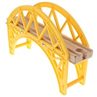 F Fityle Wooden Trains Railway Set Compatible Accessories - Yellow Bridge